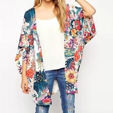 Summer Holiday Floral Kimono Top Boho Chiffon Cardigan Casual Celeb Coat Jacket