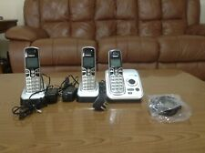 3 Handsets Vtech Phones with bases, AC/DC adapter and Telephone Cord Used