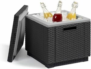 Keter Ice Box Drinks Cooler, Outdoor Garden Rattan Cube Cold Drinks Chair Table