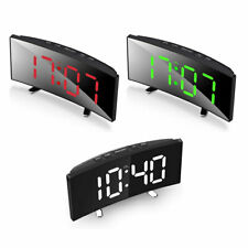 Digital LED Alarm Clock USB/Battery Powered Mirror Large Display Night Mode Temp