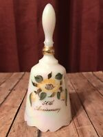 Vintage Collectible FENTON Hand Painted Bell Iridescent Milk Glass Yellow Flower