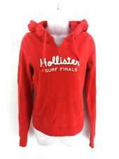HOLLISTER Womens Hoodie Jumper S Small Red Cotton & Polyester