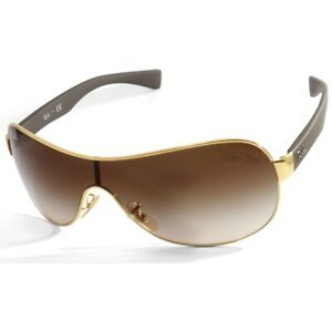Ray-Ban RB3471 001/13 Gold-Brown/Brown Gradient Unisex Shield Fashion Sunglasses