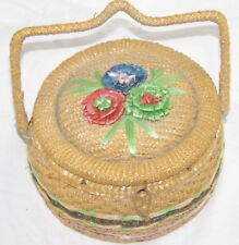 Vintage Wicker Sewing Basket Haberdashery Whicker Handle Round Box Flowers