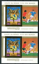 Cambodge Cambodia Munich 1974 Football FIFA  gold foil or Michel Bloc 104 A + B