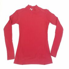 Under Armour Compression Shirt Mock Neck Solid Red Fitted Athletic Top Sz Large