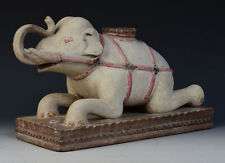 19th Century, Mandalay, Antique Burmese Wooden Lying Elephant