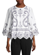NWT Tory Burch Mariana Broderie Anglaise Eyelet Scalloped Top White/Black Sz XS
