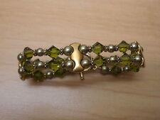 Olivine Swarovski Crystal Green Pearl 2 Strand Bracelet