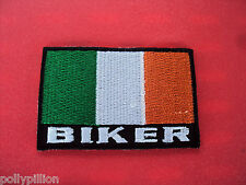 MOTORBIKE RIDER COUNTRY FLAG SEW/IRON ON PATCH:- BIKER IRELAND EIRE