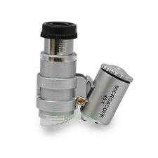 45X Mini Pocket Microscope LED Light Magnifier Loupe