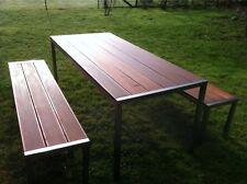 Edelstahl-Gartenmöbel Tisch + 2 Bänke