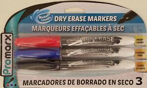 Dry Erase Marker Pens Red Blue Black, Fine Point 3/PK, Washable