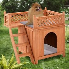 Wooden Pet Dog House Room Shelter with Stairs with Balcony for Indoor & Outdoor