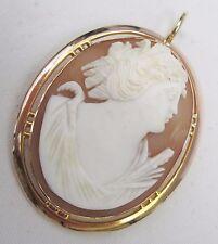 Vittoriano oro 9 carati BELLE mano intagliato SHELL CAMEO DEA GRECA CIONDOLO C 1870