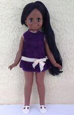 """Ideal Black Velvet Doll 1981 pull string grow hair 15"""" vintage Crissy family"""