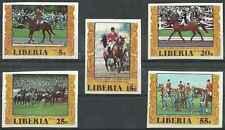 Timbres Sports JO Chevaux Libéria 742/5 PA156 ** lot 17155
