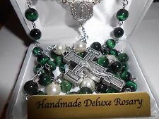 8 mm Green Tigereye Stone Beads with Deluxe Silver Oxidized Crucifix - Rosary