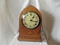 For Restoration Edwardian Inlaid Oak American Lancet Arch Mantel Clock