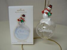 Hallmark Ornament 2009 WONDER OF SNOW NEW Glass Snowman Scarf Winter
