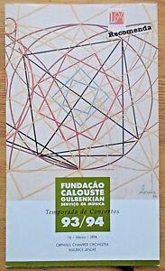 Orpheus Chamber Orchestra programme Fundacao Calouste Gulbenkian 1994 Lisbon