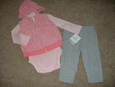 Carters Baby Girls Pink Leopard Fleece 3pc Outfit Set Size 24 months 24M NWT NEW