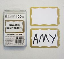 25 Gold Border Badges Name Tags Labels Id Stickers Peel And Stick Adhesive