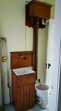 Antique Victorian Pull Chain High Tank Toilet + Basin Cabinet c 1902 Copper line