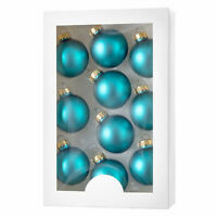 Darice Boxed Christmas Ornaments: Matte Bright Teal, 1.77 inches, 10 pieces w