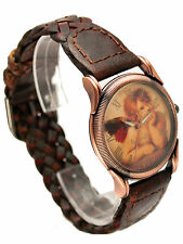 INFINITY:WOMEN GENUINE ANTIQUE LOOK BRAIDED LEATHER BAND ANGLE FACE ANALOG WATCH