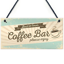 Coffee Bar Hanging Wall Plaque Home Decor Kitchen Cafe Sign Gifts For Women