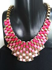 Necklace Statement Chunky Gold Tone Metal And Woven Red/Pinks Colour Ribbon Bib