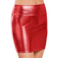 Sexy Lingerie Women Mini Skirt Clubwear PVC Faux Leather Metallic Short Dress
