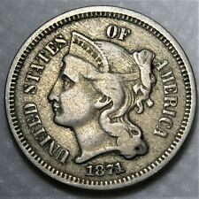 1871 Three Cent Piece. Rare tripled die variety! FS-101