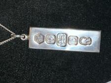 More details for vintage sterling silver bullion bar ingot pendant 19.5