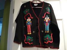 Christmas Sweater VJ Petite Women Medium Nutcracker M Vtg Not Ugly Braid Sequin