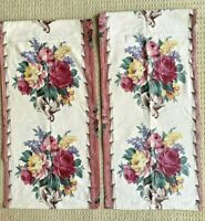 Vintage Curtain Panels (2) Floral Barkcloth Fabric Pieces Rectangles with flaw