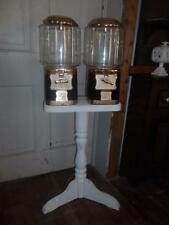 Vntg Bulk Double Barrel Gumball/Candy Vending Machine w/White Enamel Wood Stand