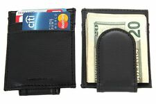 Leather Magnetic Money Clip 3 Credit Card Slim Design Black Men's Wallet