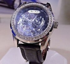MENS BIG 45mm w CROWN MARC ECKO SILVER 3D POP ART LUCK RHINO GEMMED WATCH