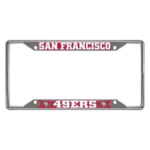 Fanmats NFL San Francisco 49ers Chrome Metal License Plate Frame Del. 2-4 Days