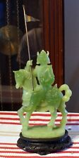 Vintage Molded Epoxy & Jade Dust Figure Of A Soldier On Horseback With Spear