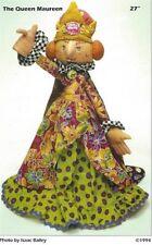 Pattern Cloth Art Doll The Queen Maureen Uncut Oop Elinor Peace Bailey Rare