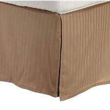 Superior 100% Premium Cotton 300 Thread Count Queen Bed Skirt Stripe, Taupe