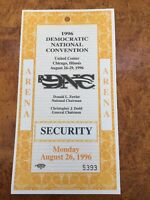 1996 Democratic National Convention Arena Security Pass 8/26/16 Clinton/Gore