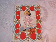 Whitney Valentine Embossed Girl Walking Dog Valentine Vintage Card T*