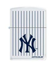 """Zippo """"New York Yankees"""" Logo White Matte Lighter, Pinstripes, 0403"""