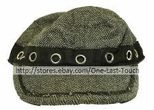 BLACK JACK Ladies NEWSBOY/CABBIE CAP/HAT One Size CHEVRON+GROMMETS Blk+Gray 2/2