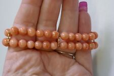 Vintage 14K Yellow Gold Double Strand Pink Coral Bracelet