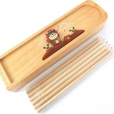 TRADITIONAL WOOD PENCIL BOX LION DESIGN, PENCIL CASE HANDMADE 6 COLOURED PENCILS